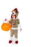 Costume di Halloween della scimmia del calzino Immagine Stock