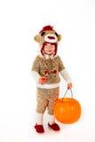 Costume di Halloween della scimmia del calzino Immagini Stock