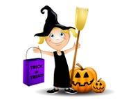 Costume di Halloween della strega Fotografia Stock Libera da Diritti