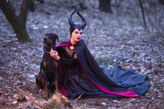 Costume Drama. Charming and Mysterious Maleficent Female with High Bred Dog on Leash. Posing Together in Early Spring Forest stock photo