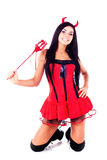 costume dziewczyny Halloween chochlika target1623_0_ Zdjęcia Royalty Free