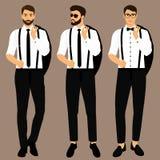 Costume et smoking du ` s d'hommes de mariage ramassage Le marié monsieur illustration libre de droits