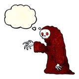 costume fantasmagorique de Halloween de bande dessinée avec la bulle de pensée Photo stock