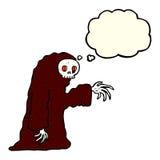 costume fantasmagorique de Halloween de bande dessinée avec la bulle de pensée Images stock