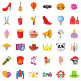 Costume fun icons set, cartoon style. Costume fun icons set. Cartoon set of 36 costume fun vector icons for web isolated on white background Royalty Free Stock Photo