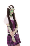 Costume Girl black and white hair style. Green Stock Photography