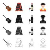 Costume, hat, Spain and other web icon in cartoon style.Wine, grape, man, icons in set collection. Costume, hat, Spain and other  icon in cartoon style.Wine Stock Photography