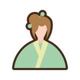 costume japonais de vêtement de femme de personnage de dessin animé illustration libre de droits
