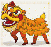 Costume jaune de chinois traditionnel pour Lion Dance Display, illustration de vecteur Photographie stock
