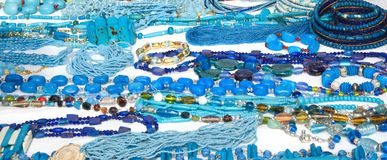 Costume jewellery (blue) Stock Photo