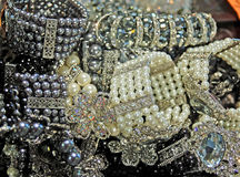 Costume Jewelry. On display at an outdoor market Stock Images