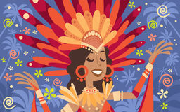 Costume lumineux latin Rio Party traditionnel d'usage de femme de carnaval du Brésil illustration de vecteur