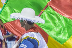 Costume Man with Flag Marching at Carnival Parade of Uruguay Royalty Free Stock Photos
