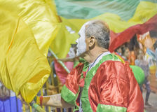 Costume Man with Flag Marching at Carnival Parade of Uruguay Stock Photography