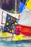 Costume Man with Flag Marching at Carnival Parade of Uruguay Stock Photo