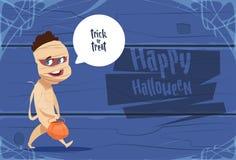 Costume mignon de maman d'usage d'enfant, concept heureux de célébration de partie de bannière de Halloween illustration de vecteur