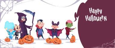 Costume mignon de monstres d'usage d'enfants, concept heureux de célébration de partie de bannière de Halloween Image stock