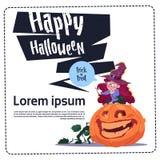 Costume mignon Sit On Pumpkin, bannière heureuse de sorcière d'usage d'enfant de Halloween Image libre de droits