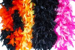 Costume multi-color feather scarf, costume fluffy feather royalty free stock image