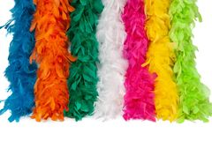 Costume multi-color feather scarf, costume fluffy feather stock images