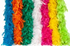 Costume multi-color feather scarf, costume fluffy feather stock photos