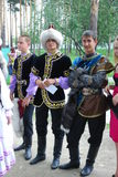 Costume national tatar de Sabantuy de participants Photos stock