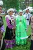Costume nazionale tartaro di Sabantuy dei partecipanti Immagini Stock