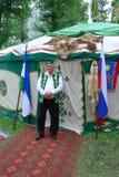 Costume nazionale tartaro di Sabantuy del partecipante Fotografia Stock Libera da Diritti