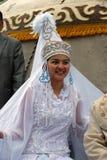Costume nazionale tartaro di Sabantuy del partecipante Immagine Stock Libera da Diritti
