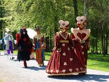 Costume parade in Annevoie Gardens Stock Image