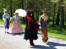 Costume parade in Annevoie Gardens Royalty Free Stock Photos