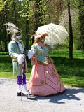 Costume parade in Annevoie Gardens Royalty Free Stock Photo