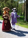 Costume parade in Annevoie Gardens Royalty Free Stock Images