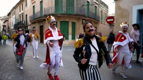Barcelona, Spain 10/06/2019: Costume parade in Barcelona, Spain. Art. Many people in bright unusual clothes walking. Costume parade in Barcelona, Spain. Many stock footage