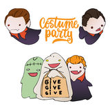 Costume party - Halloween hand drawn lettering and sketch with children dressed in a vampire, ghosts, zombies.  Royalty Free Stock Photography