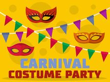 Costume party logo, flat style. Costume party logo. Flat illustration of costume party logo for web Royalty Free Illustration