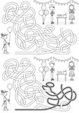 Costume party maze. For kids with a solution in black and white stock illustration