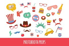 Costume props for independence day of America. themed photo booth party Royalty Free Stock Photography
