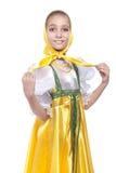 Costume russo da portare di dancing della ragazza Fotografie Stock Libere da Diritti