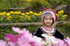 Costume thaïlandais d'usage de fille traditionnel du hmong ethnique Photographie stock