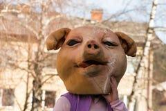 Costume traditionnel de carnaval annuel de Cerknica en Slovénie Images libres de droits