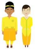 Costume tradizionale della Malesia nel vettore Fotografie Stock Libere da Diritti