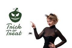 costume venice масленицы Женщина с ушами кота масленицы Стоковые Изображения RF