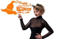costume venice масленицы Женщина с ушами кота масленицы Стоковые Фотографии RF