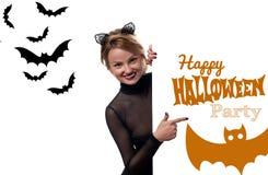 costume venice масленицы Женщина с ушами кота масленицы Стоковые Фото