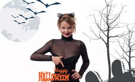 costume venice масленицы Женщина с ушами кота масленицы Стоковое Фото