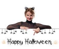 costume venice масленицы Женщина с ушами кота масленицы Стоковая Фотография RF