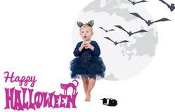 costume venice масленицы Маленькая девочка в коте костюма Стоковое фото RF