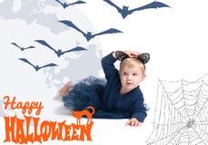 costume venice масленицы Маленькая девочка в коте костюма Стоковое Изображение
