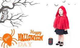 costume venice масленицы Меньший красный клобук катания красивейшая девушка немногая Стоковая Фотография